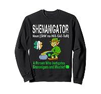 Shenanigator Tshirt Saint Patrick Day Irish Four Leaf Clover Sweatshirt Black