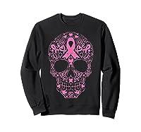 Sugar Skull Pink Ribbon Calavera Breast Cancer Awareness T Shirt Sweatshirt Black