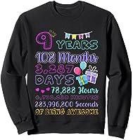 9 Years Old Gifts 9th Birthday Shirt Countdown T-shirt Sweatshirt Black