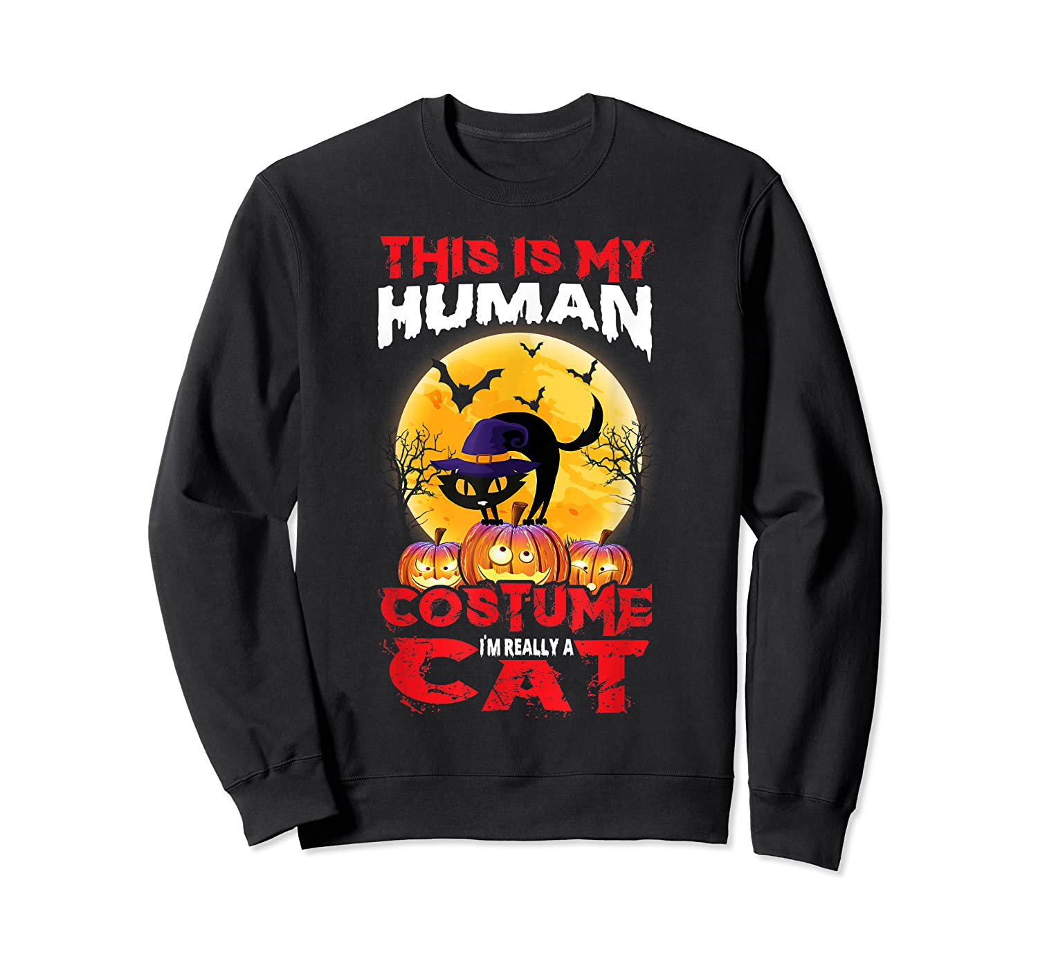 Cat Funny Halloween T-shirt For Girls Adults Crewneck Sweater