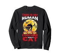 Cat Funny Halloween T-shirt For Girls Adults Sweatshirt Black