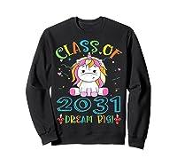 Class Of 2031 Grow With Me Unicorn Back To School Shirts Sweatshirt Black