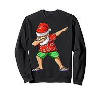 Dabbing Santa Christmas In July Party Hawaiian Santa Beach Shirts Sweatshirt Black
