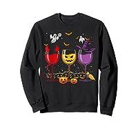 Three Glasses Of Wines Funny Halloween Wine Lover Shirts Sweatshirt Black