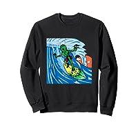 Area-51 Alien Surfing Ocean Wave Lazy Surfer Halloween Gift Tank Top Shirts Sweatshirt Black