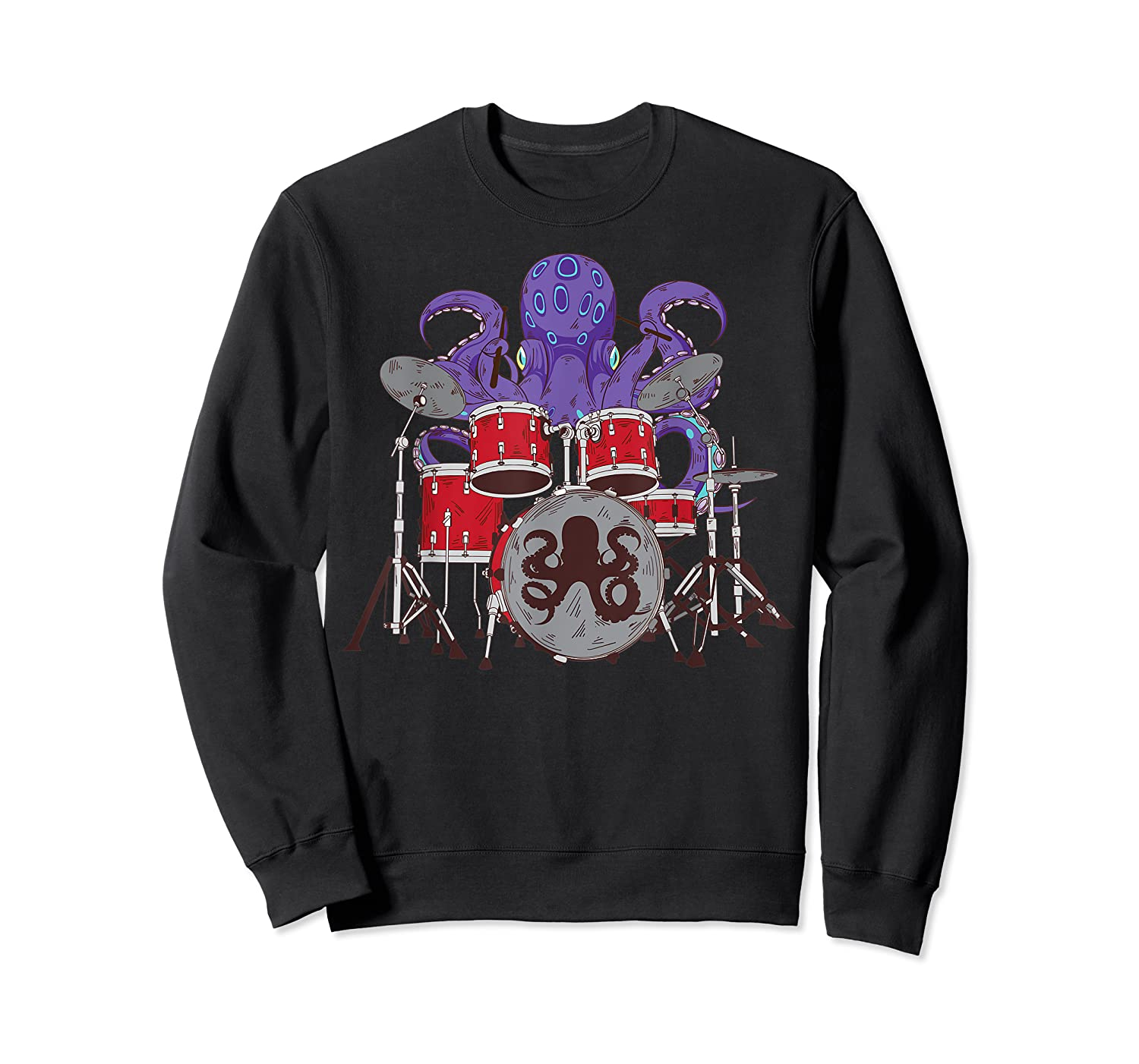 Octopus Drumming Cute Sea Drummer Lover Funny Gift Shirts Crewneck Sweater