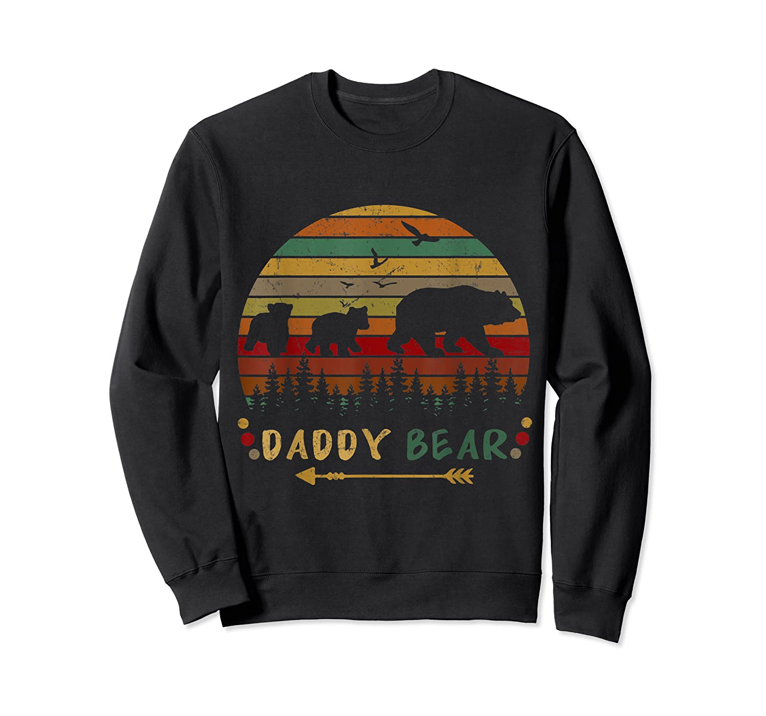 Daddy Bear With Two Cups Retro Gift For Father S Day T Shirt Crewneck Sweater