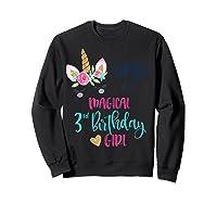 Unicorn Dad Of The 3rd Birthday Girl Matching Papa Shirts Sweatshirt Black