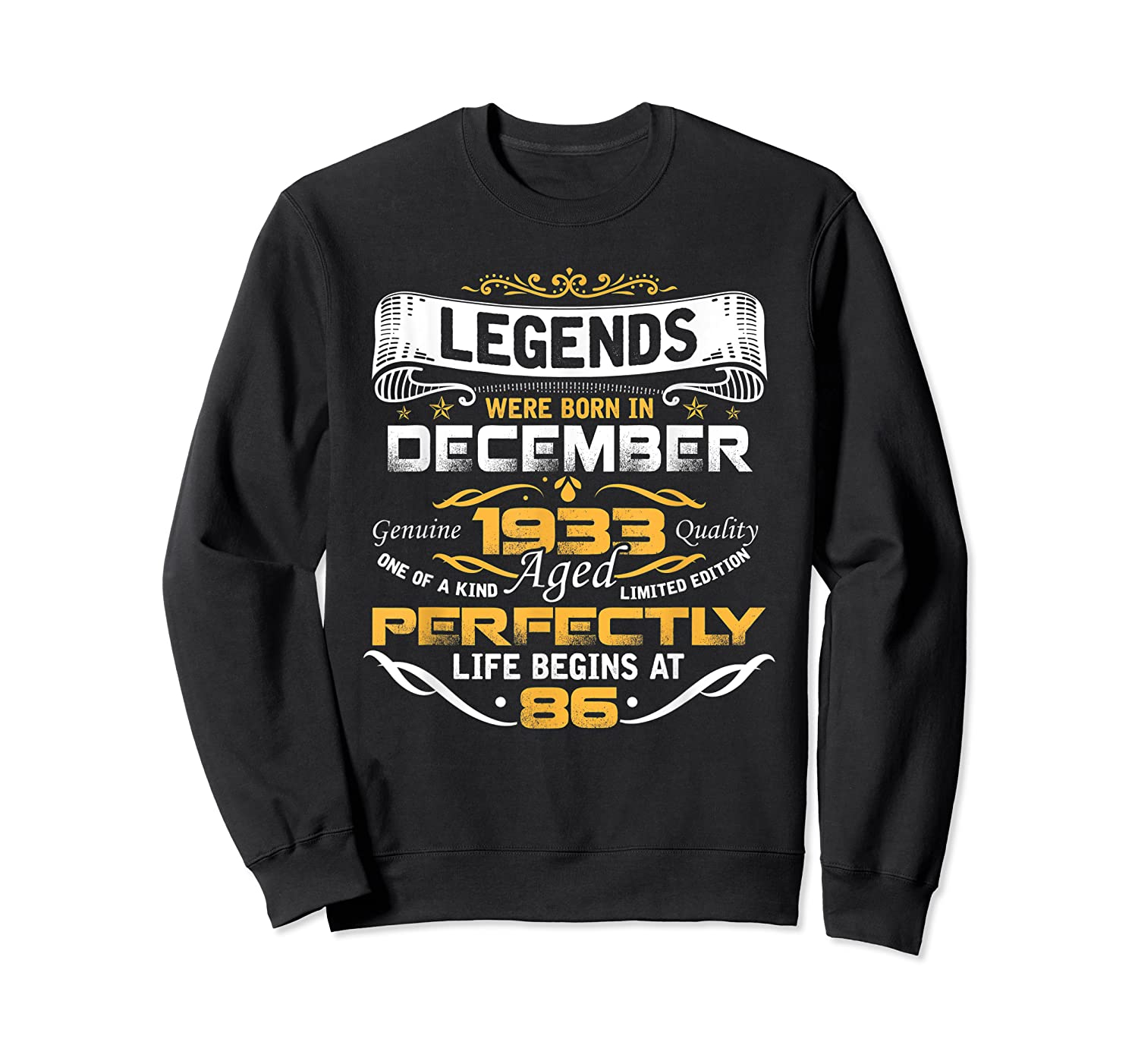 Awesome Legends Born In December 1933 86th Birthday T-shirt Crewneck Sweater