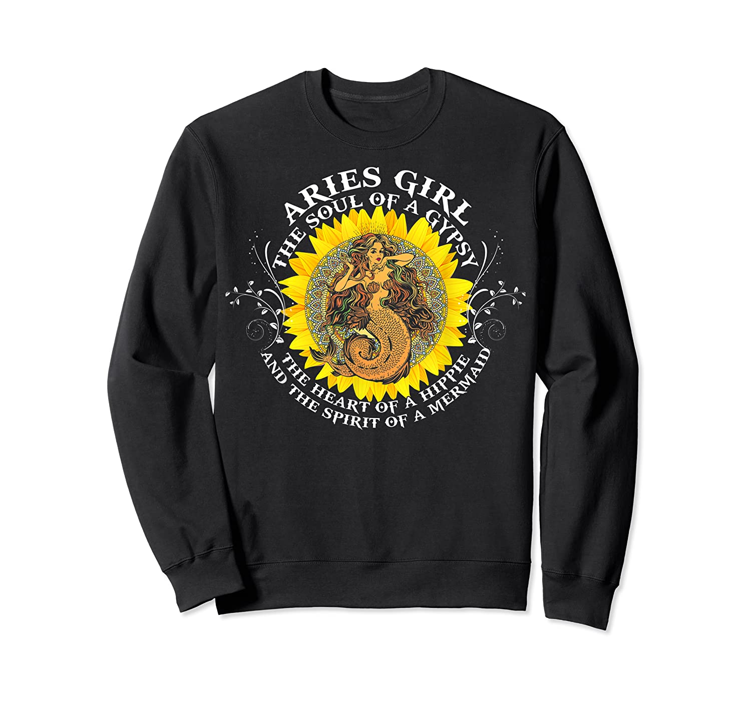 Aries Girl The Soul Of A Mermaid Tshirt Birthday Gifts Crewneck Sweater