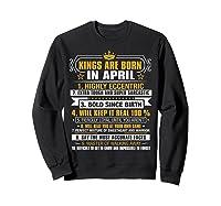 Kings Are Born In April Vintage Birthday Shirts Sweatshirt Black