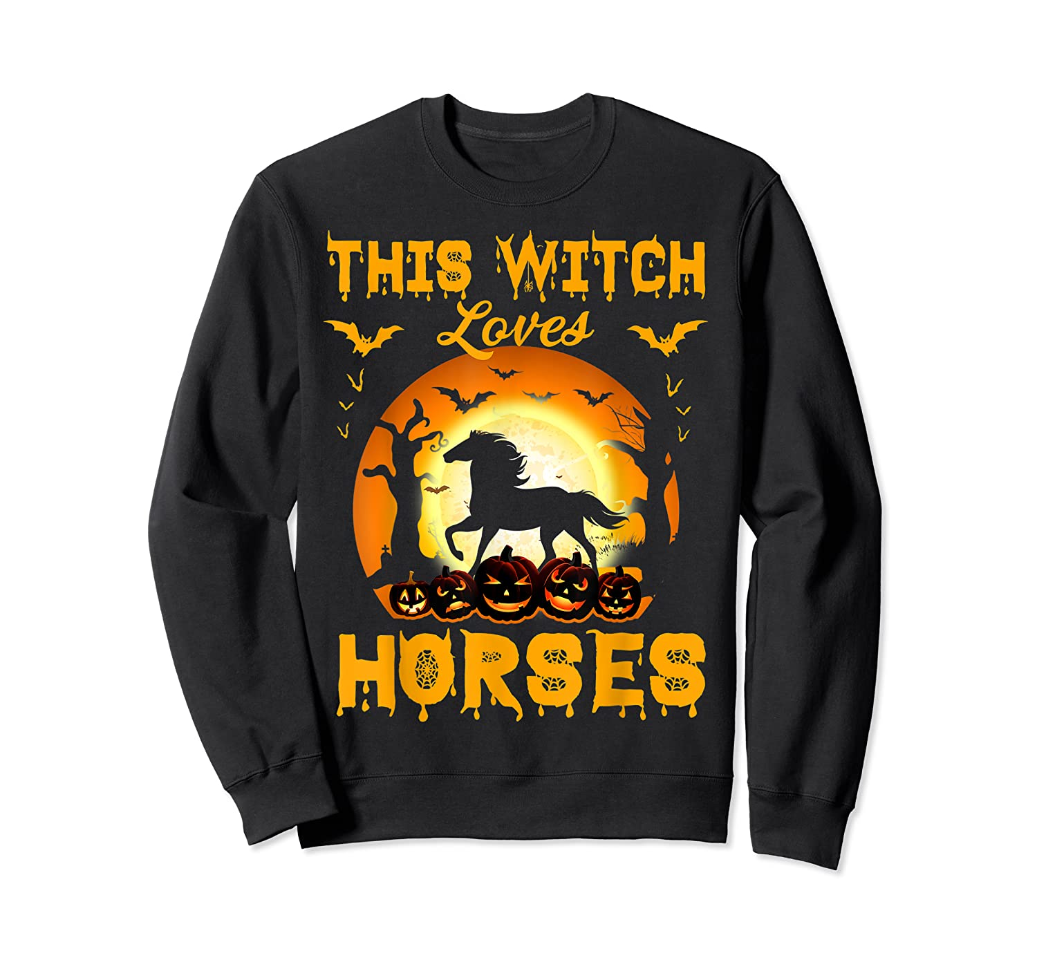 This Witch Loves Horses T-shirt Halloween Cosplay Crewneck Sweater