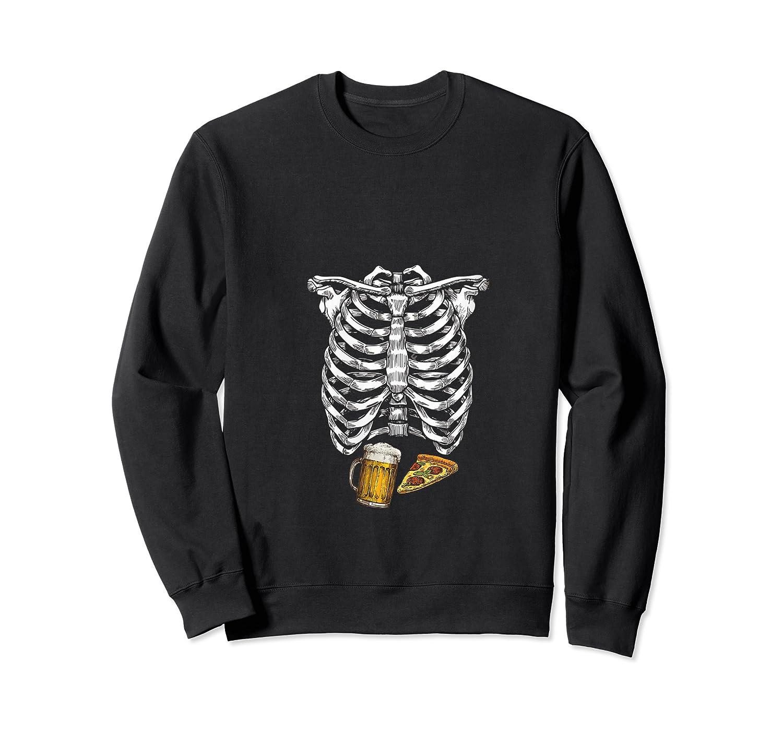 Funny Halloween Skeleton Pregnancy Pizza Beer Xray Apparel Shirts Crewneck Sweater