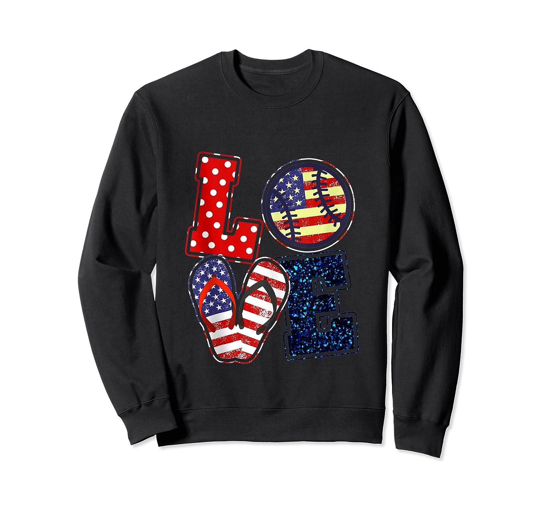 Love Softball Usa Flag 4th Of July Flip Flop Softball Usa Shirts Crewneck Sweater