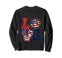 Love Softball Usa Flag 4th Of July Flip Flop Softball Usa Shirts Sweatshirt Black