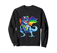 Dinosaur Gay Pride Lgbt Rainbow Flag Lesbian Bisexual T Rex Shirts Sweatshirt Black