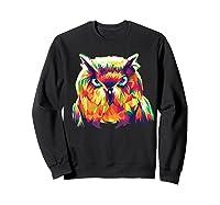 Owl Pop Art Style T Shirt Design Sweatshirt Black