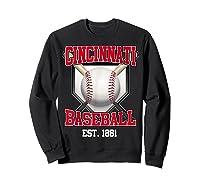 Cincinnati Baseball Retro Vintage Baseball Design Shirts Sweatshirt Black