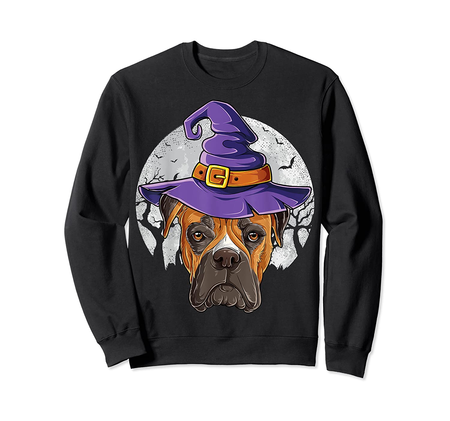 Boxer Witch Hat Funny Halloween Gifts Dog Lover Girls T-shirt Crewneck Sweater