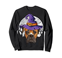 Boxer Witch Hat Funny Halloween Gifts Dog Lover Girls T-shirt Sweatshirt Black