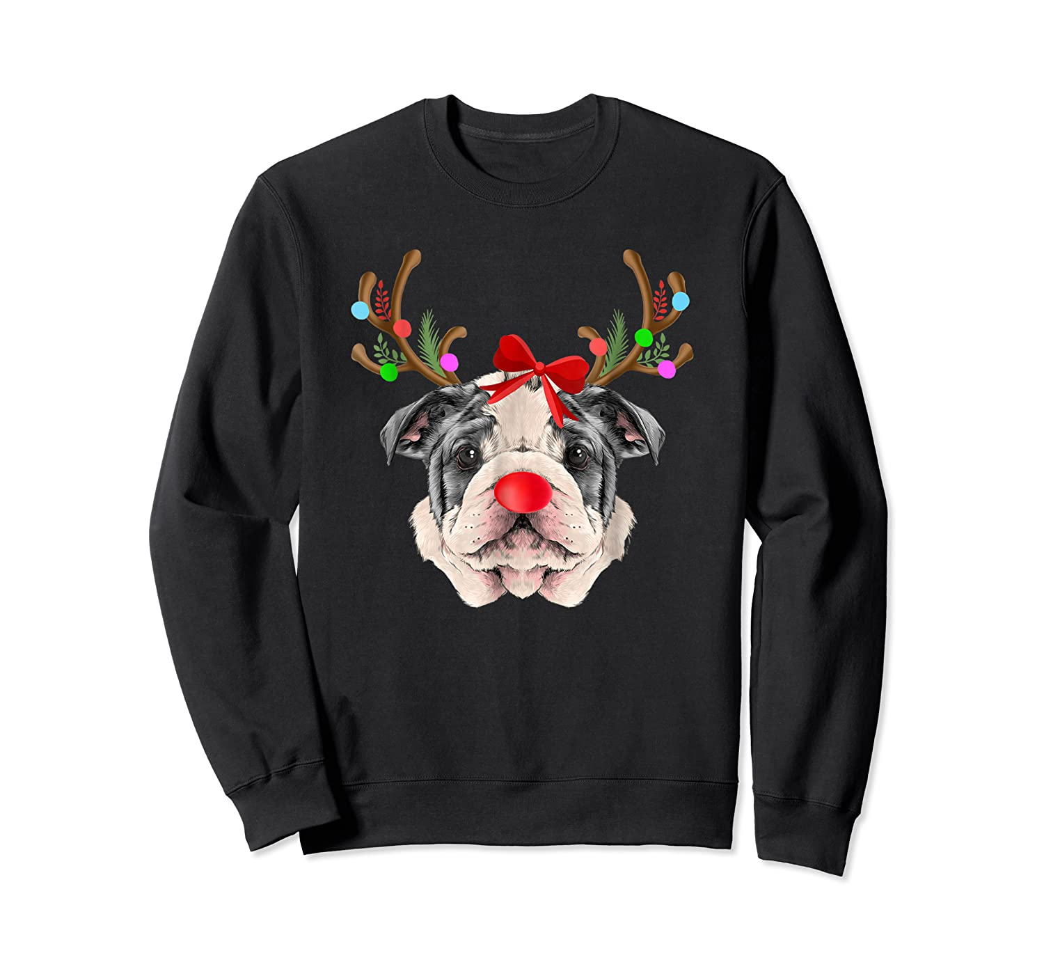 Funny Bulldogs With Antlers Light Christmas Shirts Crewneck Sweater
