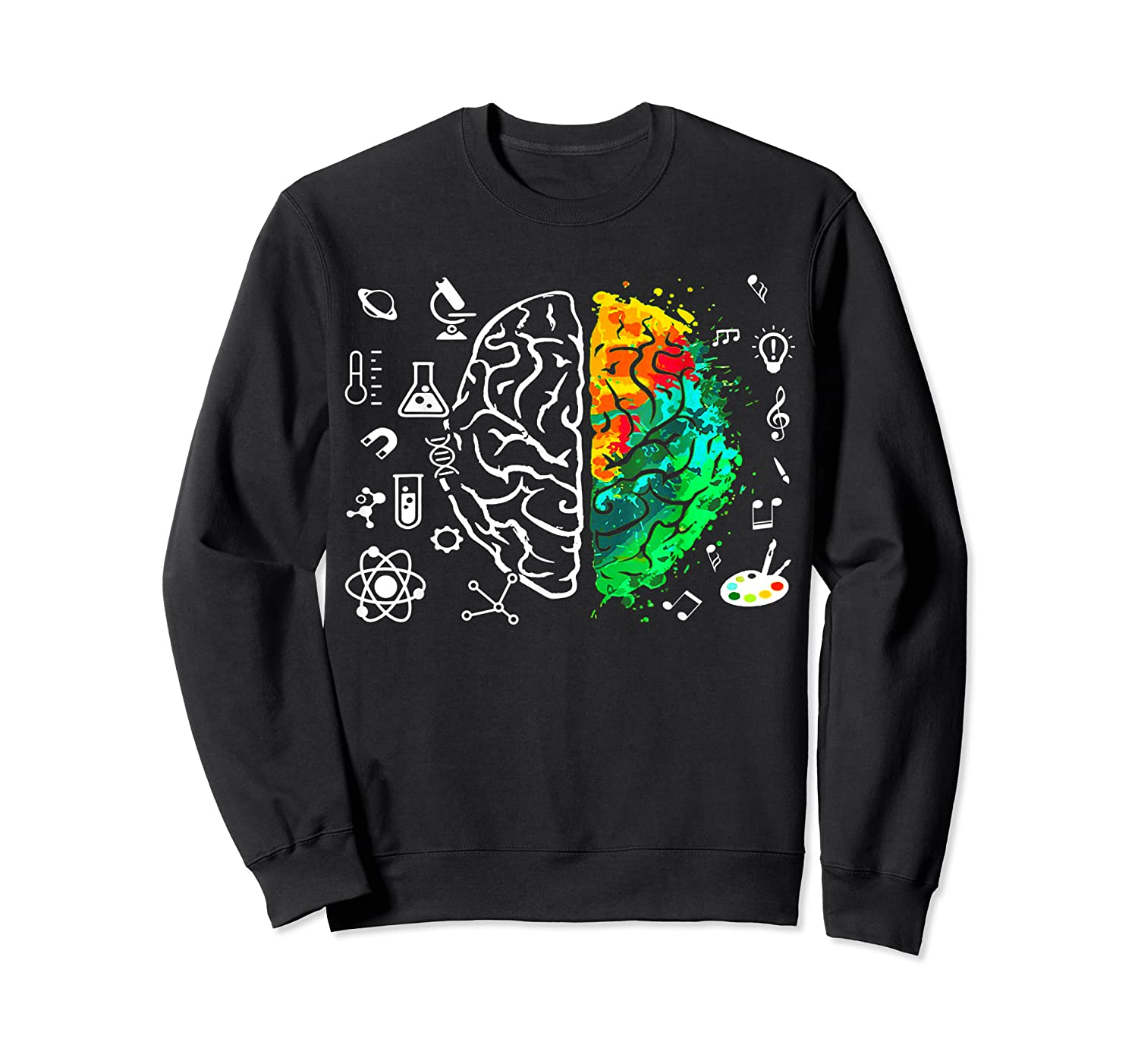 Colorful Brain Science And Art Love Science Art Gifts T Shirt Crewneck Sweater