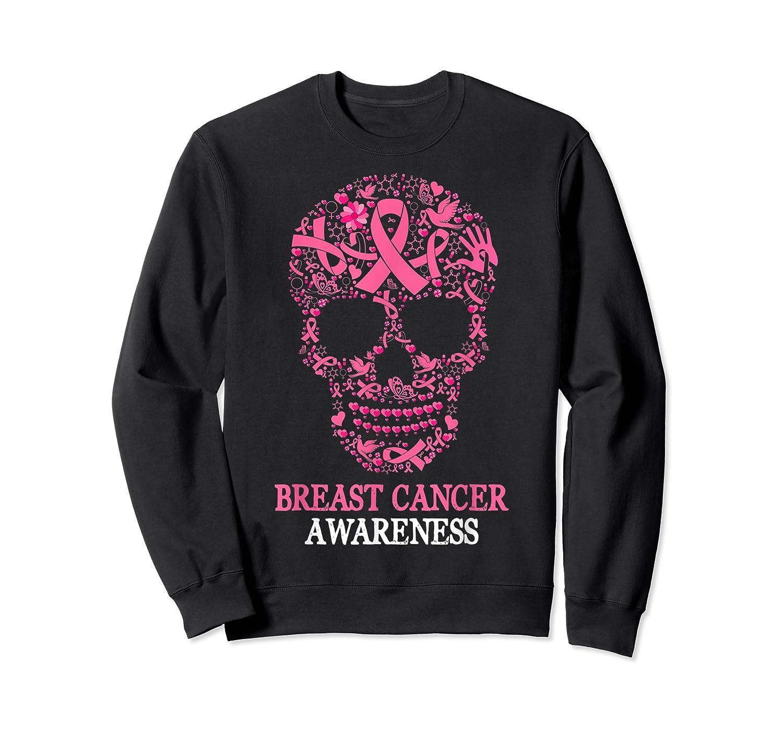 Breast Cancer Awareness Month Skull Halloween Shirts Crewneck Sweater