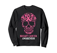 Breast Cancer Awareness Month Skull Halloween Shirts Sweatshirt Black