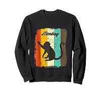 Monkey Shirt Retro 70s Vintage Animal Lover Art Design Tank Top Sweatshirt Black