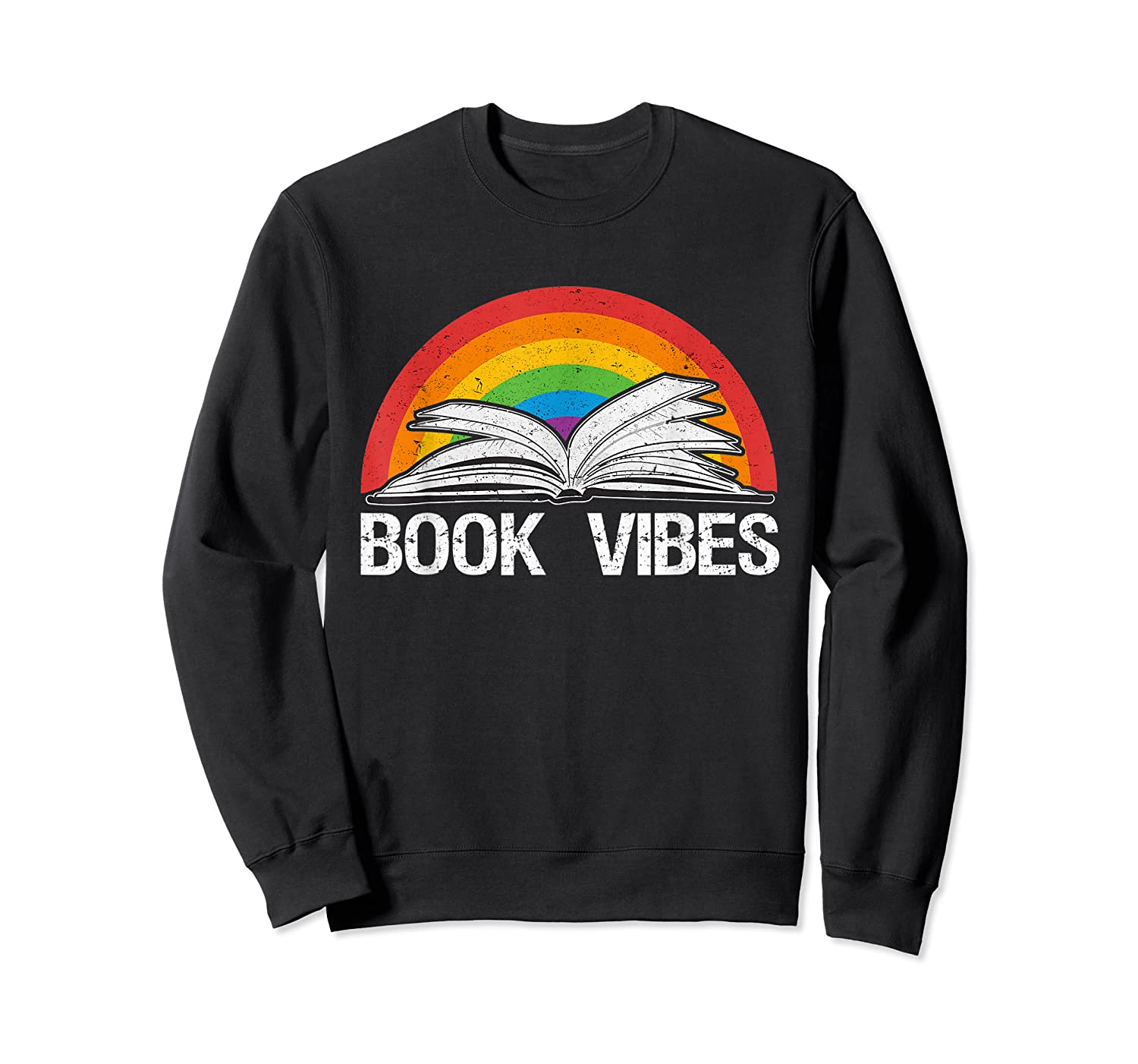 Vintage Retro Book Vibes Rainbow Gift For Reading Lovers T Shirt Crewneck Sweater