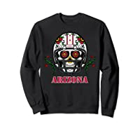 Arizona Football Helmet Sugar Skull Day Of The Dead T Shirt Sweatshirt Black