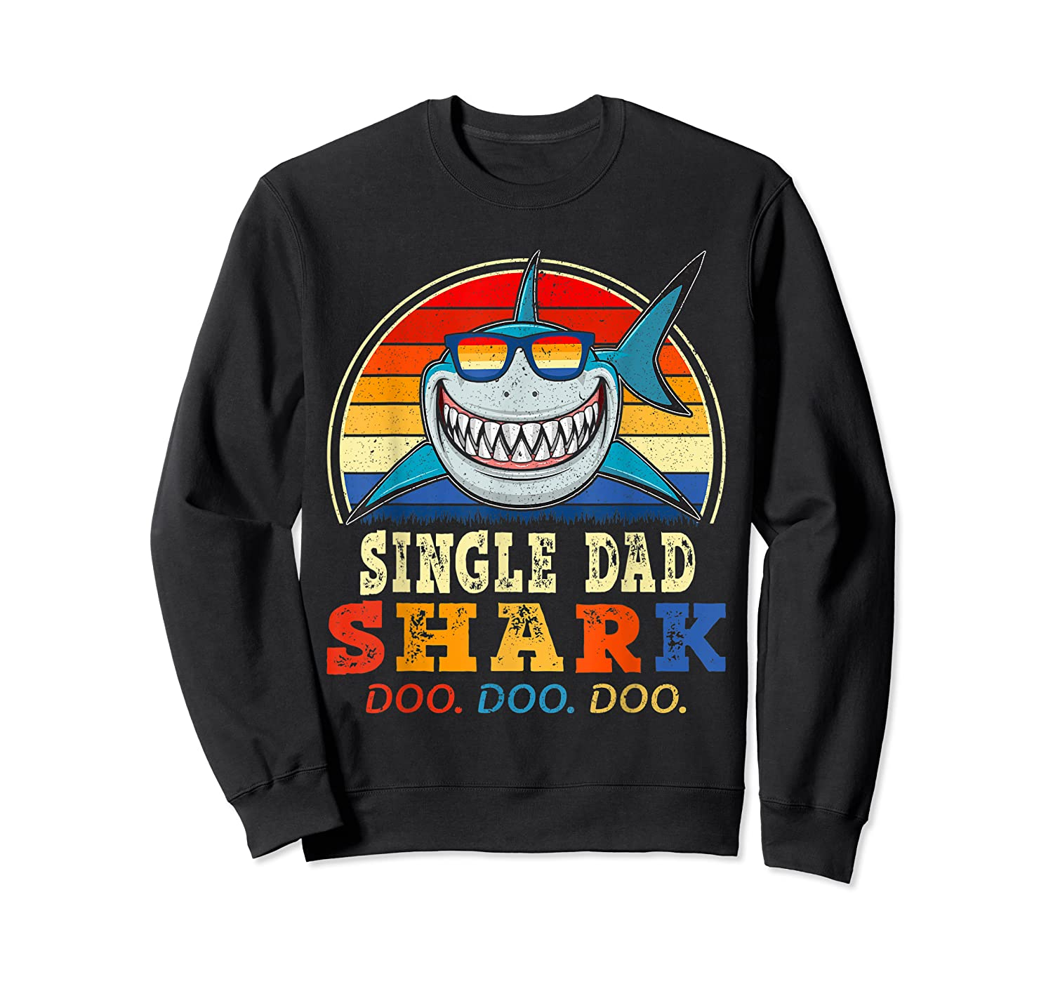 Vintage Single Dad Shark T Shirt Birthday Gifts For Family Crewneck Sweater