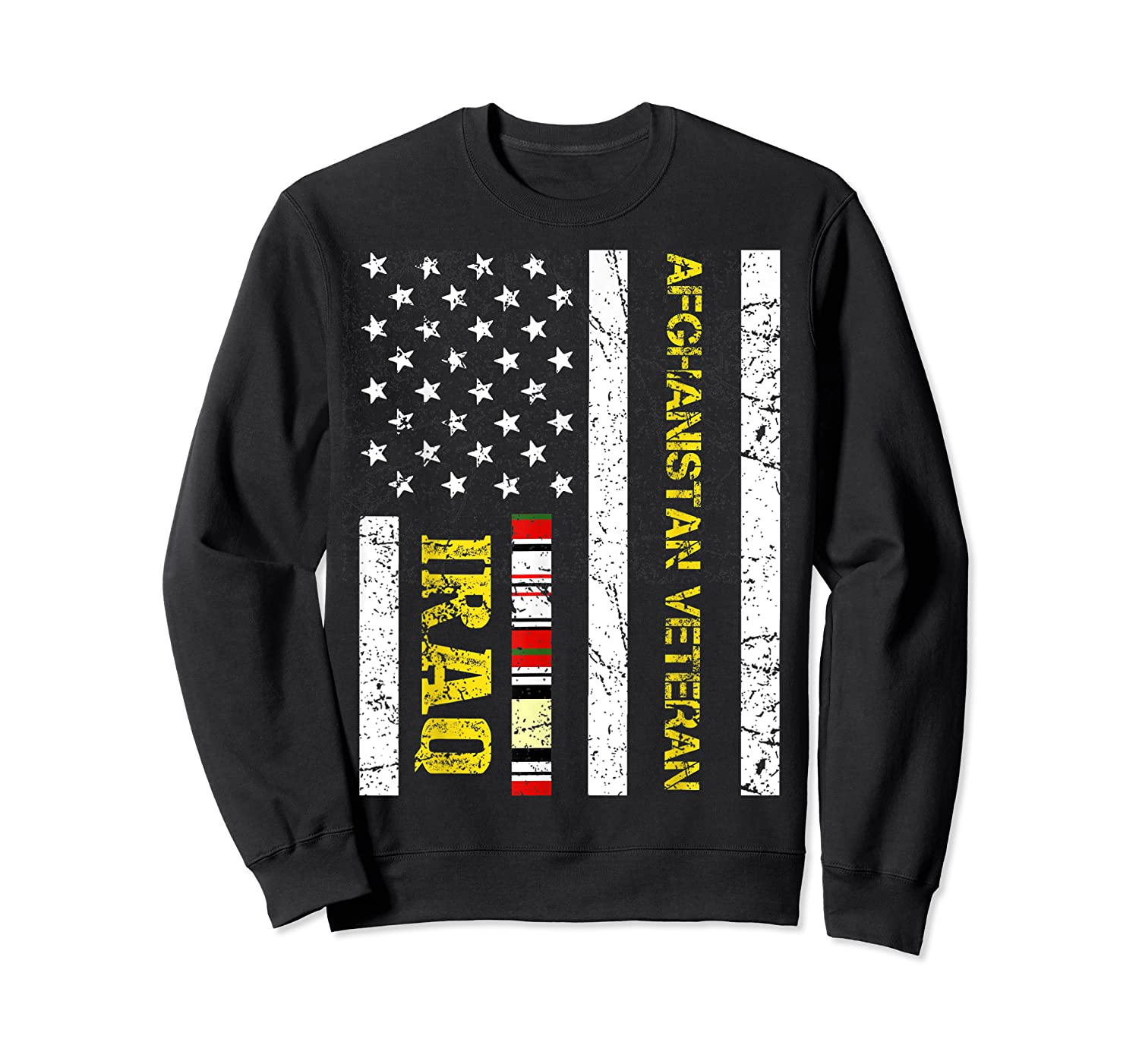 Proud Iraq Afghanistan Veteran Flag Gifts For Veteran Day T Shirt Crewneck Sweater
