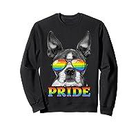 Boston Terrier Gay Pride Lgbt Rainbow Flag Sunglasses Lgbtq T-shirt Sweatshirt Black