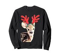 Cute Festive Fawn Wearing Reindeer Antlers Shirts Sweatshirt Black
