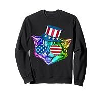 Ally Rainbow Cat Lesbian Gay Pride Gift America Flag Shirts Sweatshirt Black
