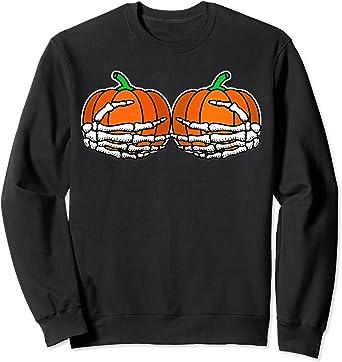 Halloween Hoodie Pumpkin Boobs Skeleton Hands Men Women Hoody Jumper Top