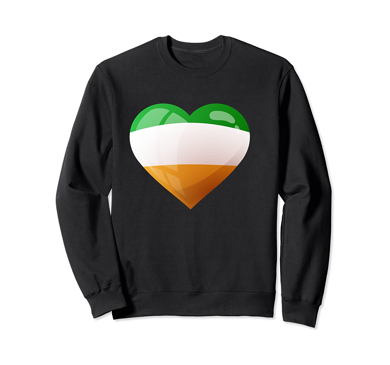Cute Heart Ireland Flag Celtic Saint Patrick Day T Shirt Crewneck Sweater