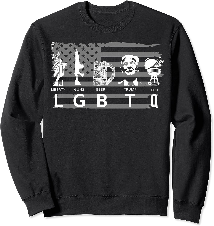 LGBT Liberty Guns Beer BBQ Donald Trump T-Shirt Funny Political Unisex Tee Gifts