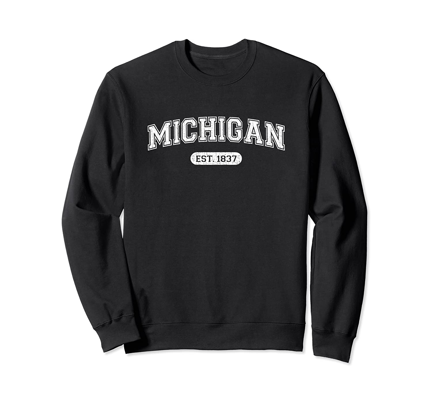 Classic College-Style Michigan 1837 Distressed Sweatshirt