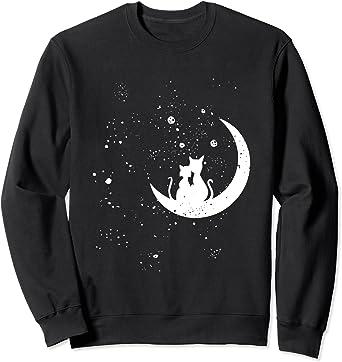 Chats regardant les étoiles motif romantique chat galaxie Sweatshirt