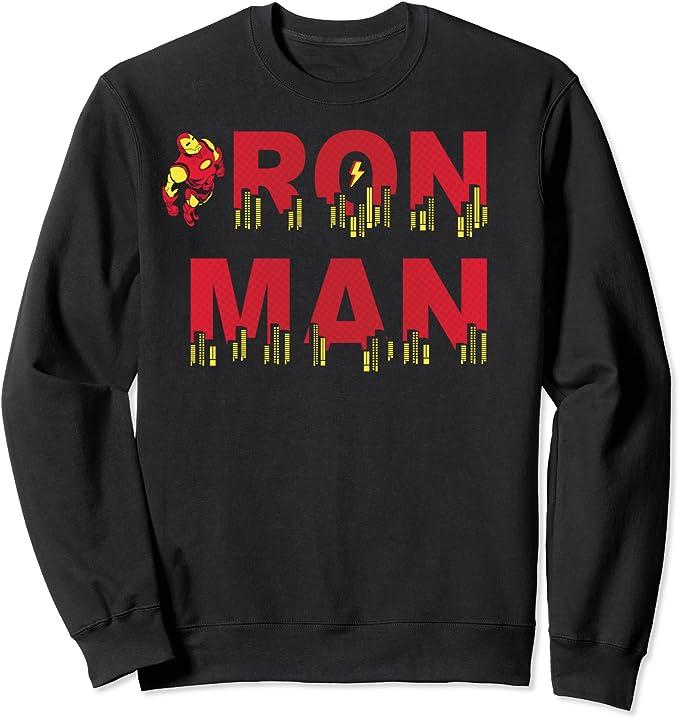 Marvel Iron Man City Skyline Text Sudadera: Amazon.es: Ropa y ...