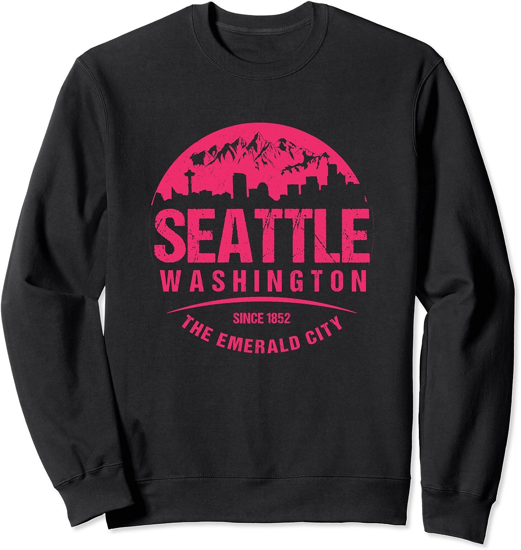 Boston Mall Seattle Washington City Skyline Grunge Art Sweats Trust Retro Souvenir