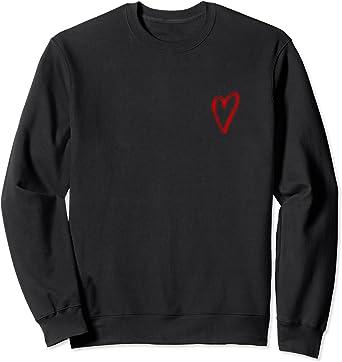 Red Tiny Heart Pocket Valentines Day Love Sweatshirt