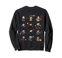 Friends Pixel Halloween Icons Scary Horror Movies Shirts Sweatshirt Black