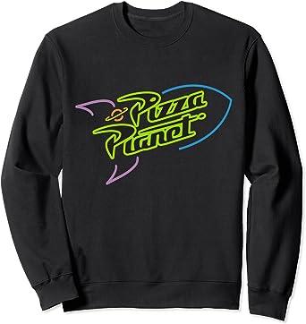 Disney Pixar Toy Story Pizza Planet Rocket Ship Neon Sweatshirt