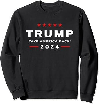 Hell Be Back Trump 2024 American Flag Vintage Sweatshirt