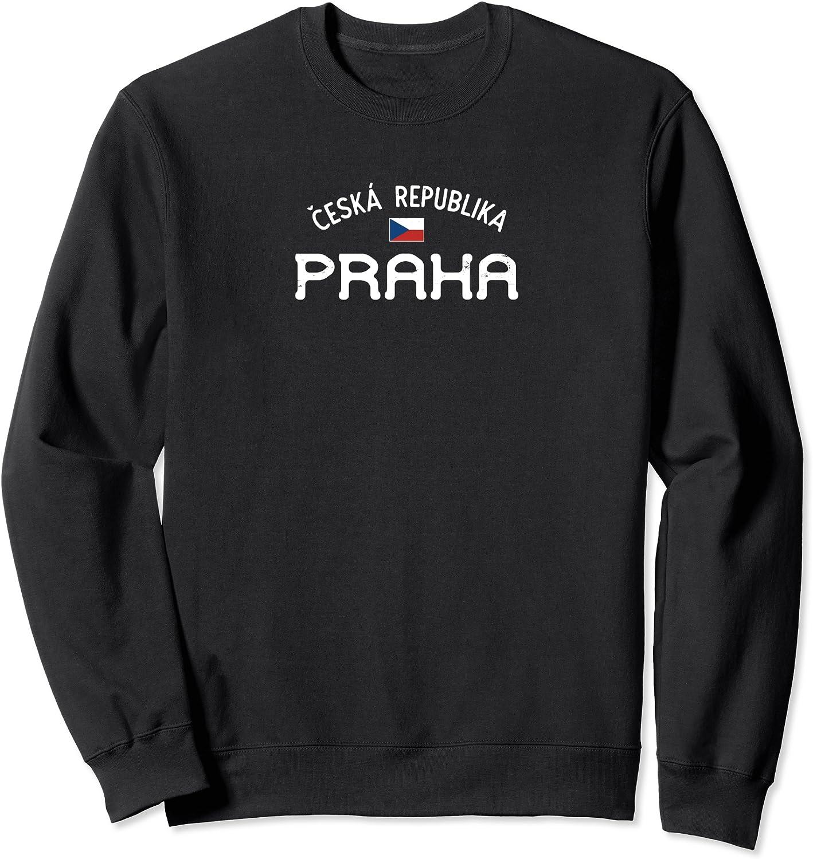 Distressed Praha Prague Ceska Republika With Czech Flag Sweatshirt