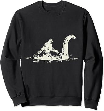 Bigfoot Sasquatch Riding The Loch Ness Monster Funny Sweatshirt