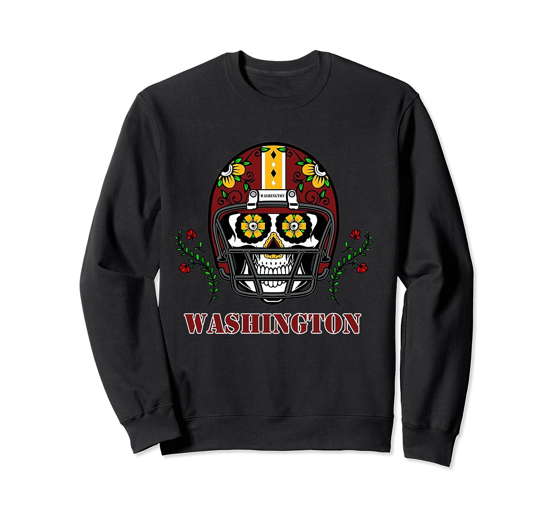 Washington Football Helmet Sugar Skull Day Of The Dead T Shirt Crewneck Sweater